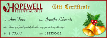 Gift Certificate Holiday Bells