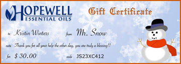 Gift Certificate Winter Snow